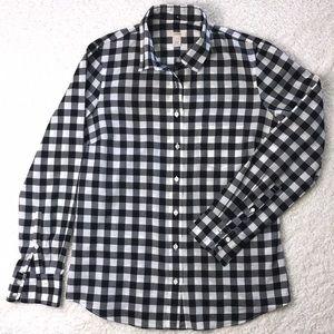 J. Crew long sleeve gingham blouse, EUC